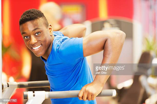 Young athlete training triceps