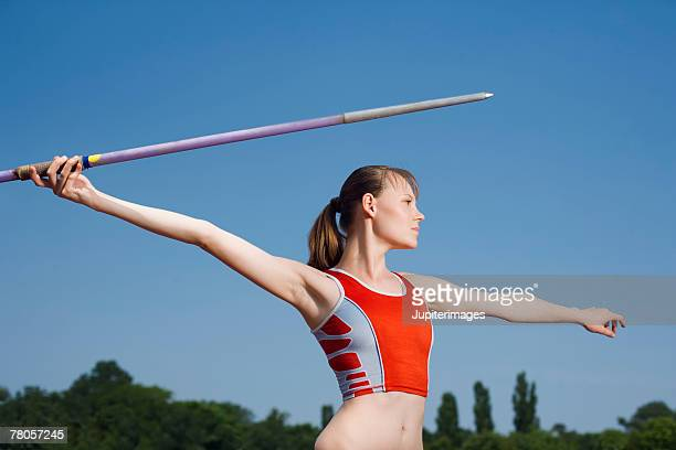 Young athlete with javelin