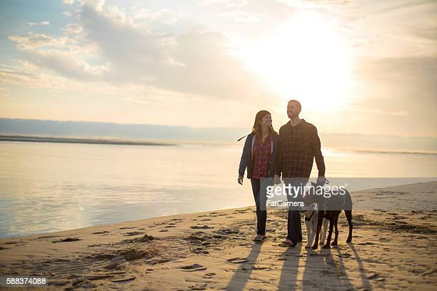 Young attractive couple talking on the beach at sunset