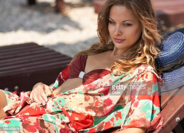 Young attractive woman relaxing on a beach