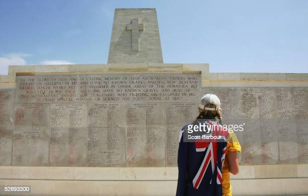 A young Australian looks at the names of Australians who were killed in Gallipoli after attending the Australian ceremony at the Lone Pine Monument...