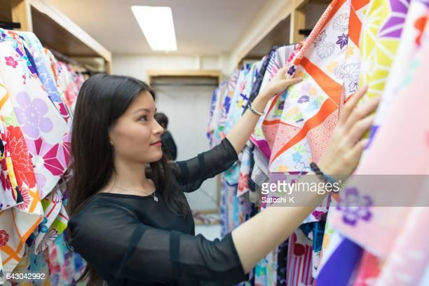 Young Austrian women choosing Kimono
