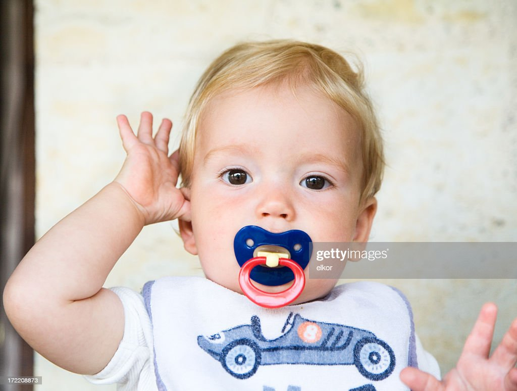 Young baby wearing a car shirt portrait : Stock Photo
