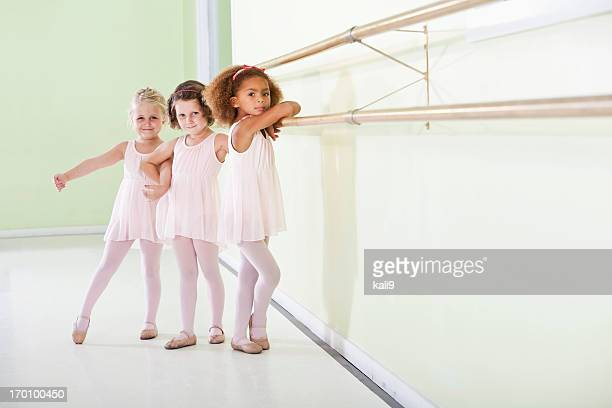 Young ballerinas standing in dance studio