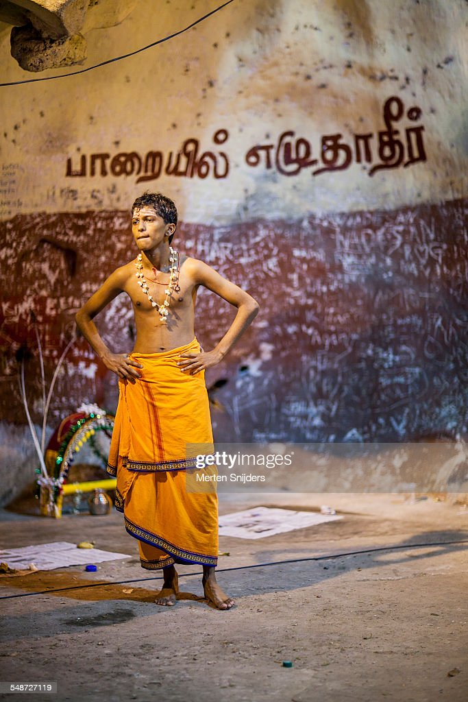 Young bare chested pilgrim during Thaipusam : Stock Photo