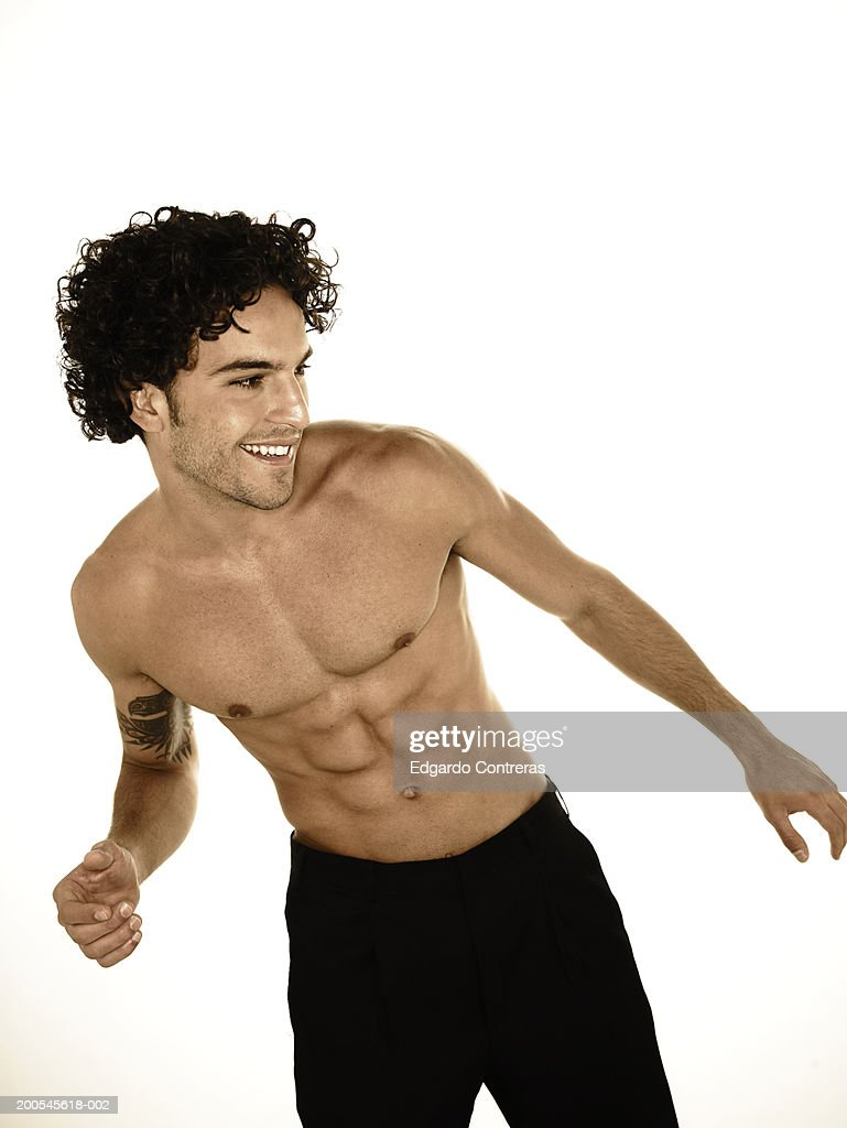 Young bare-chested man : Stock Photo