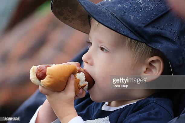 A young baseball fan enjoys a hot dog during the game between the Kansas City Royals and the Detroit Tigers at Comerica Park on September 15 2013 in...
