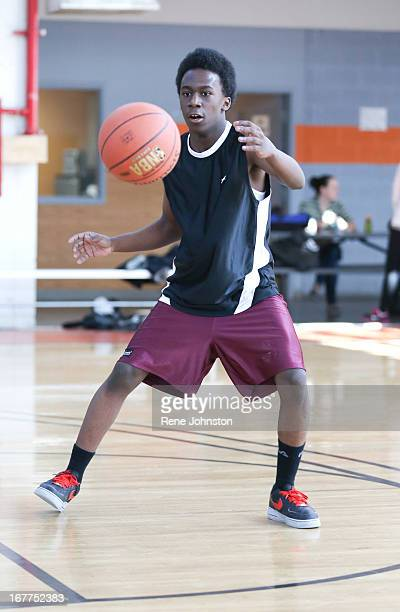 Young basket ball player Javon Myers participates in Dribble for Change a 3 on 3 basketball tourney staged by Jane Finch high school students as part...
