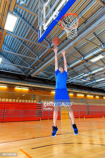 Young basketball player in Sportshall,Slovenia, Europe