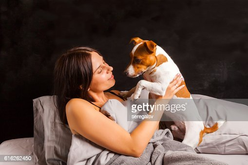 Young beautiful brunette woman plays in bed with her dog : Stock Photo