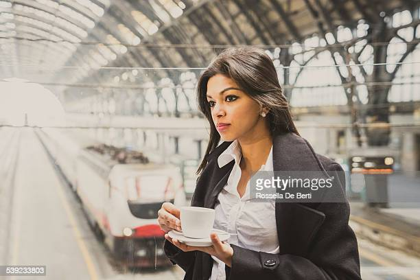Young Beautiful Woman At Milano Centrale Train Station