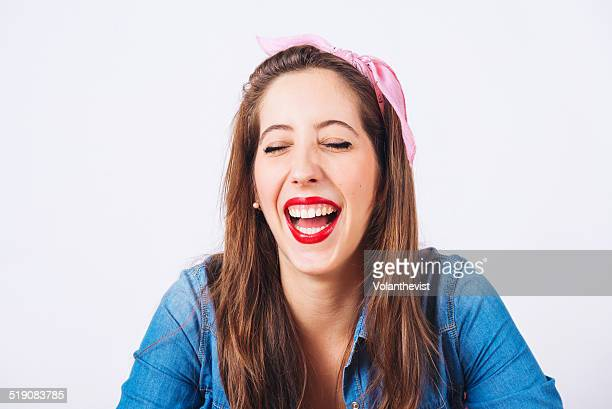 Young beautiful woman extremely happy