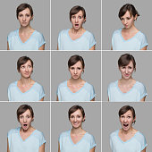 Young woman making various different facial expressions. Multiple close-up portraits of a young beautiful woman expressing different emotions and expressions, Studio Shot. Images taken with 50 Megapix