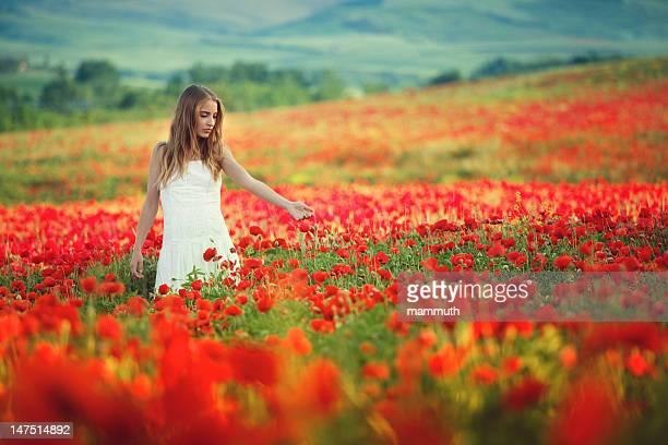 young beauty walking in poppy field