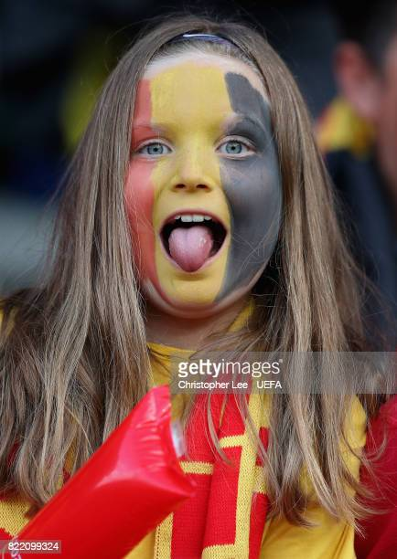 A young Belgium fan during the UEFA Women's Euro 2017 Group A match between Belgium and Netherlands at Koning Willem II Stadium on July 24 2017 in...