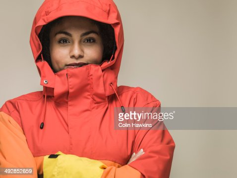 Young black female in hiking jacket