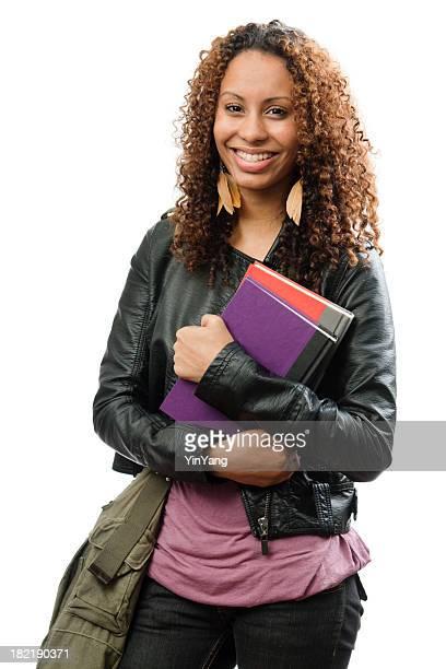 Noir de femme jeune Teen étudiant avec un Cartable