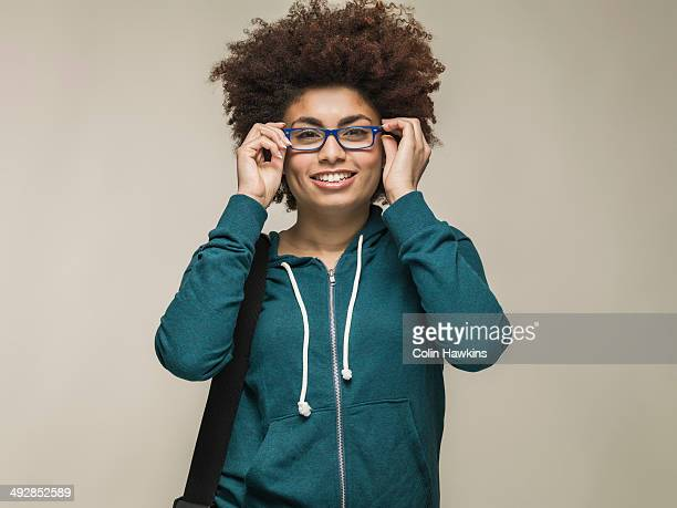 Young black woman wearing glasses