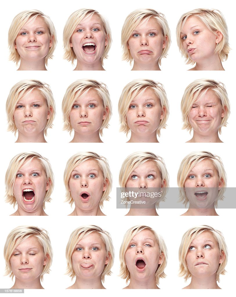 young blond girl short hair face expression collection white isolated
