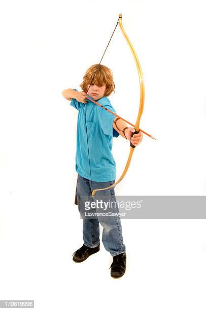 A young blonde boy with a yellow bow and arrow