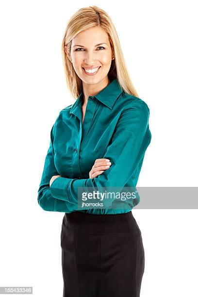 Young Blonde Businesswoman with Arms Folded