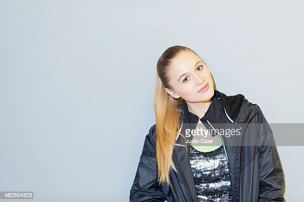 young blonde sporty woman smiling