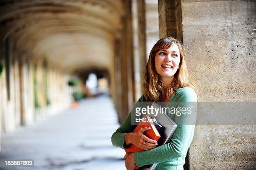 Young Blonde Woman University Student