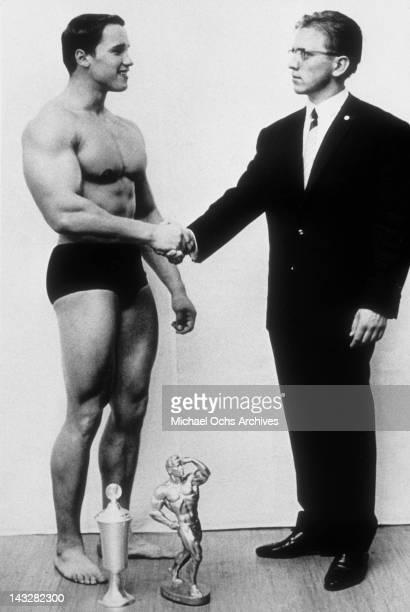 Young bodybuilder Arnold Schwarzenegger wins a competition circa 1966 in Austria
