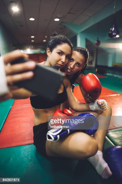 Young boxers taking selfie