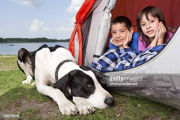 Young boy and girl camping with dog
