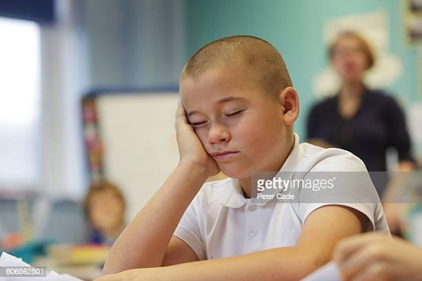 Young boy asleep in class