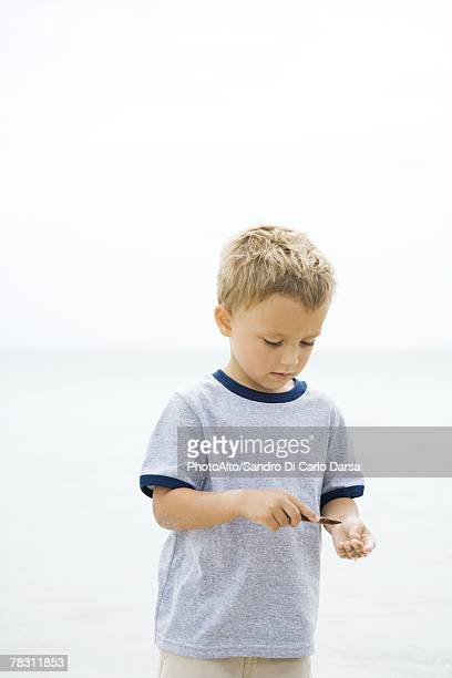 Young boy at the beach, looking down at stick