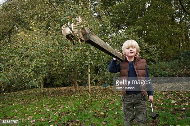 Young boy building treehouse
