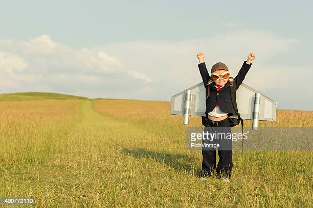 Young Boy Businessman Wearing Jetpack in England