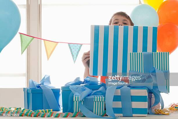 Young boy celebrating birthday