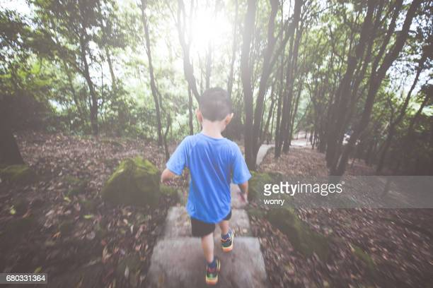 Young boy climbing in forest