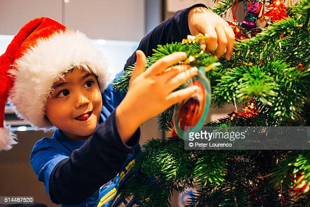 Young boy decorating a Christmas tree.