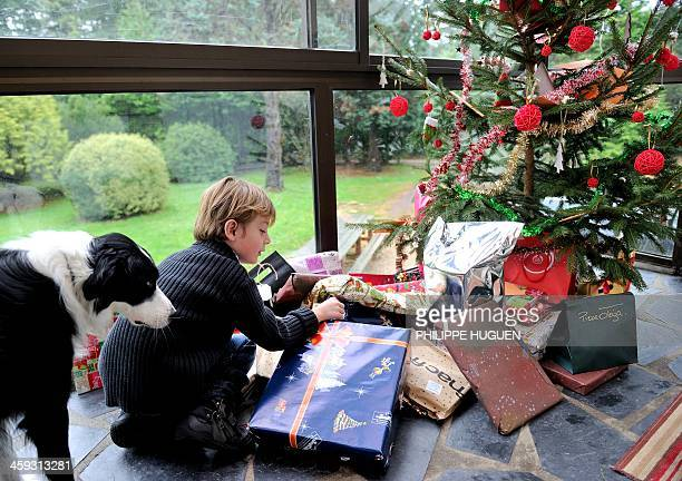 A young boy discovers his presents under the Christmas tree next to his dog on December 25 2013 in Dinan northwestern France AFP PHOTO / PHILIPPE...