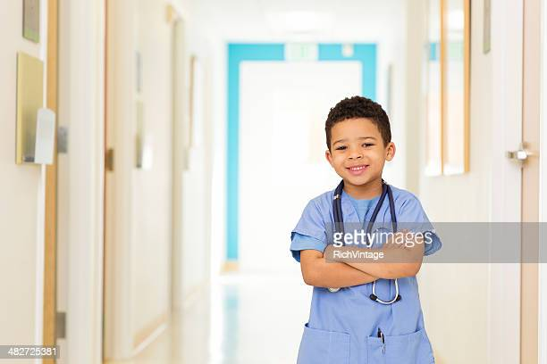 Young Boy Dressed as Doctor at Hospital