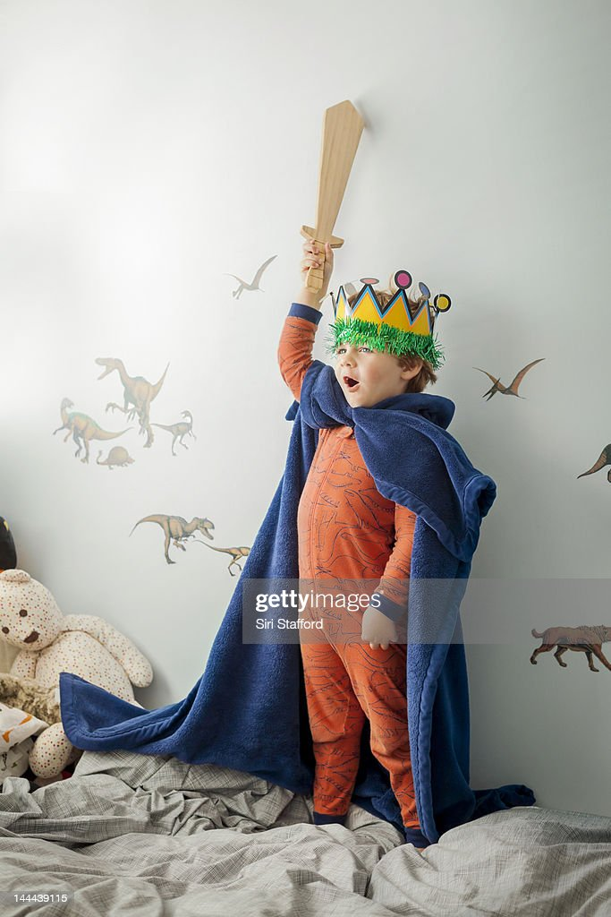 Young Boy dressed up in homemade king costume : Stock Photo
