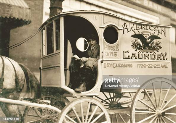 Young Boy Driving Laundry Delivery Wagon Birmingham Alabama USA circa 1914
