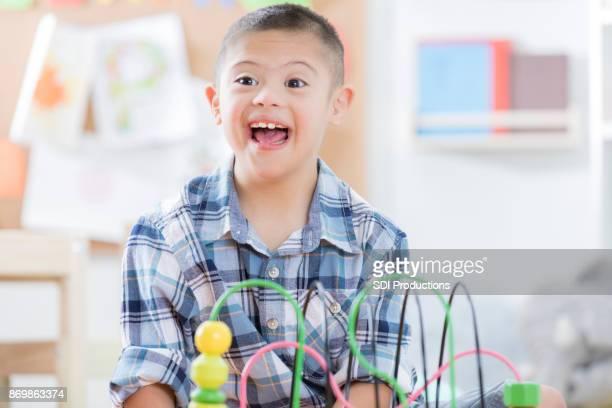 Young boy enjoying preschool