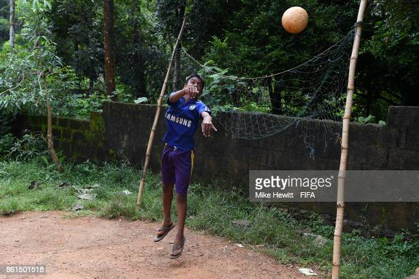 A young boy enjoys a game of football during the FIFA U17 World Cup India 2017 tournament at on October 15 2017 in Kochi India