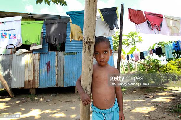 A young boy from the Nanuku Settlement on January 122012 in Suva Fiji