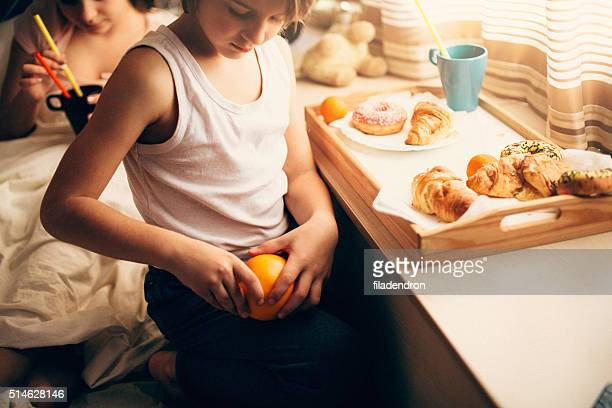 Young boy having a breakfast