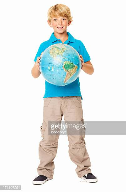 Young Boy Holding a Globe - Isolated