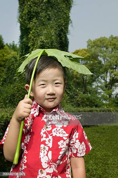 Young boy (6-8) holding plant leaf (Fatsia japonica)