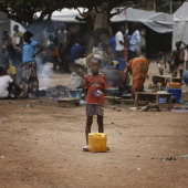 A young boy in a scene from everyday life at the Castor Refugee camp which houses around 45000 Christian refugees as seen on March 12 2014 in Bangui...