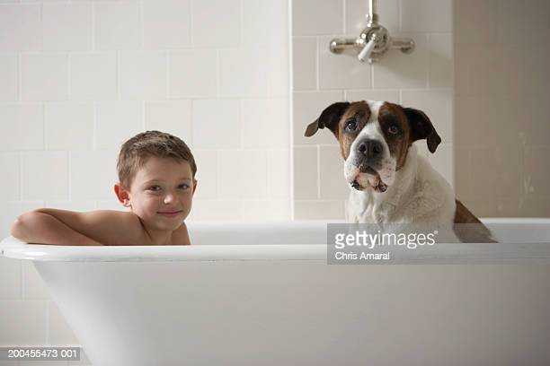 Young boy (6-8) in bath tub with dog, portrait