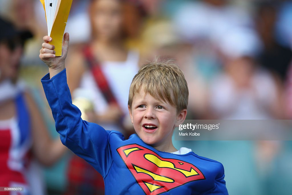 A young boy in the crowd in fancy dress enjoys the atmosphere during the 2016 Sydney Sevens at Allianz Stadium on February 6, 2016 in Sydney, Australia.